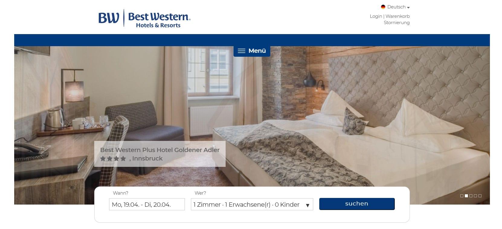 Screen Hotel Website Adler Innsbruck